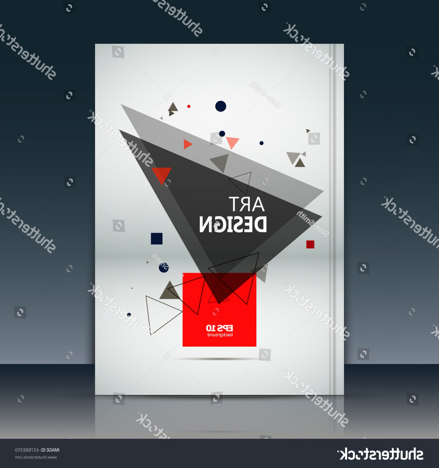 Title Red And Gray Vector: Abstract Composition Text Frame Surface Brochure
