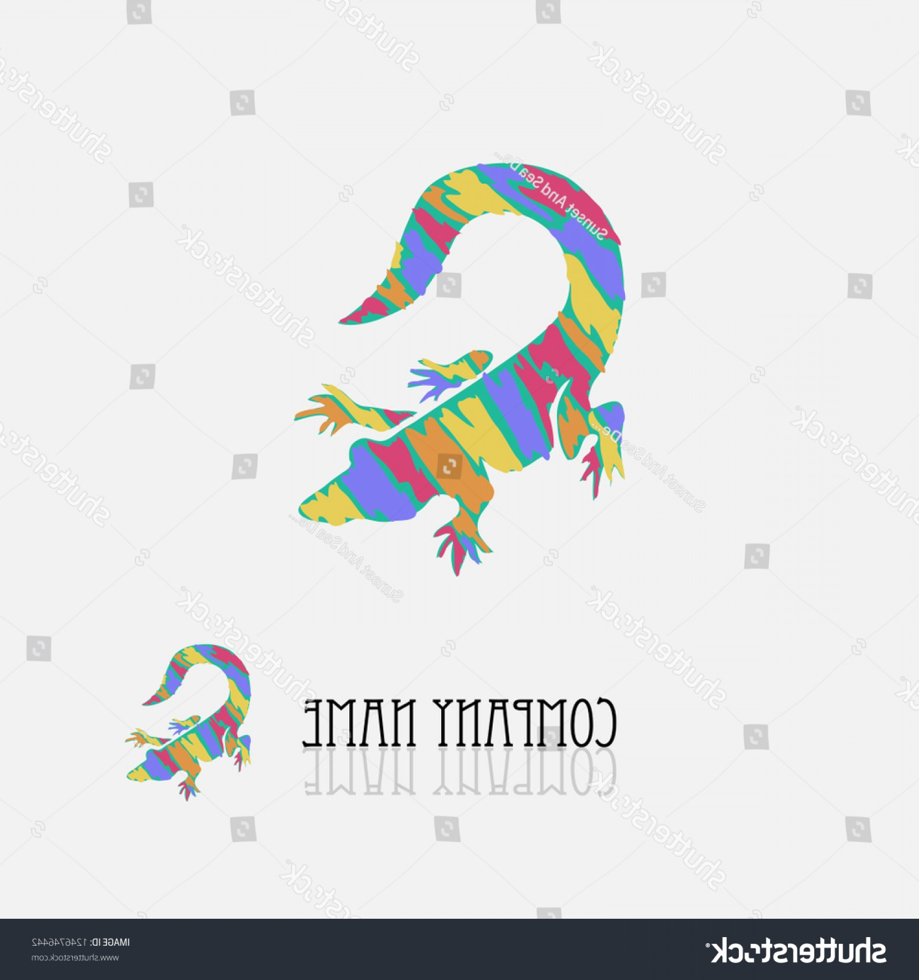 Jewelry Manufacturing Icon Vector: Abstract Crocodile Signsymbol Vivid Colors Design
