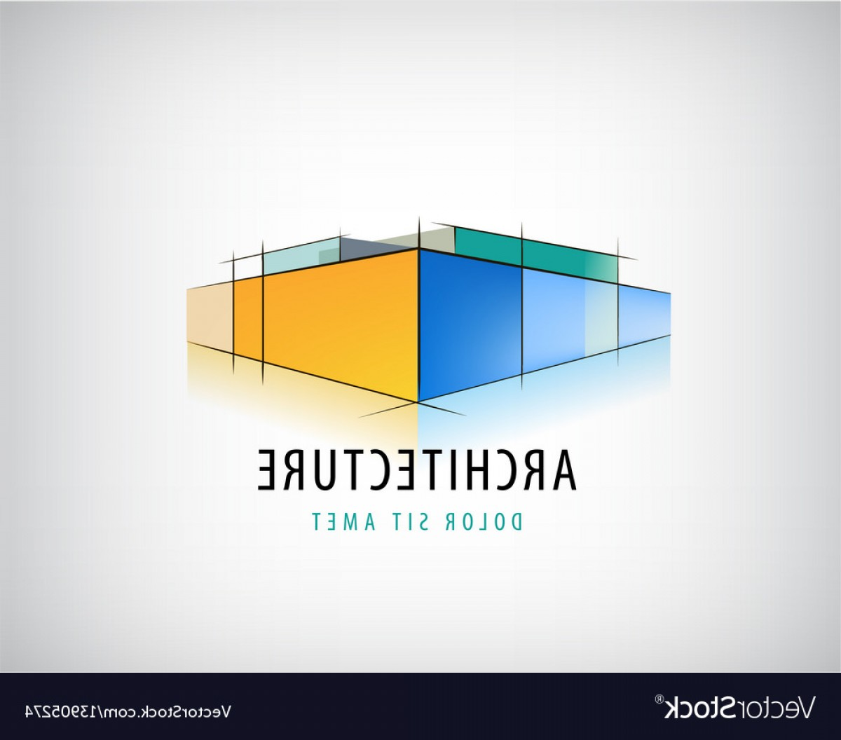 Vector Abstract 3D: Abstract D Architecture Sign Building Vector