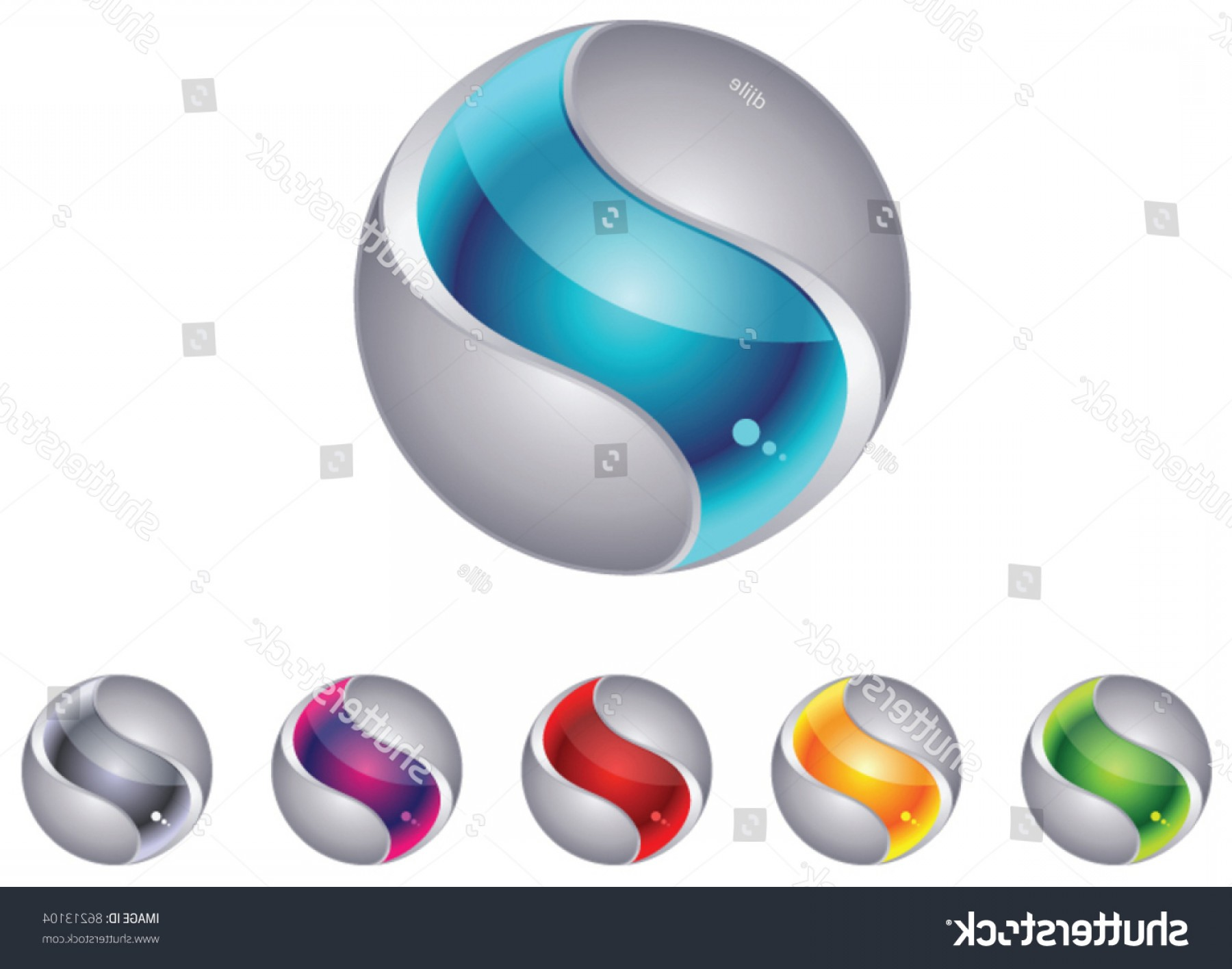 Vector Sphere Marble: Abstract D Globe Sphere Set
