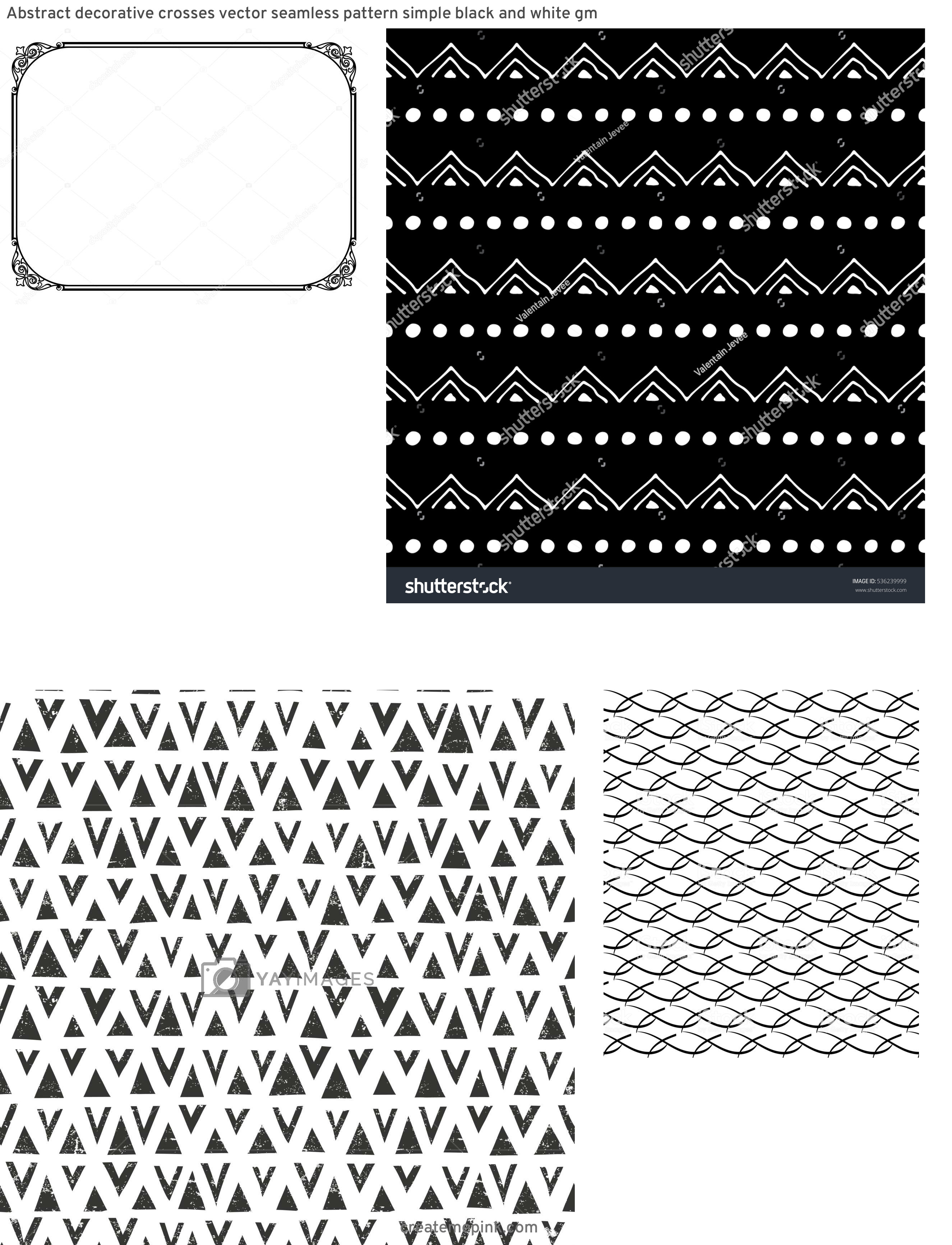 Simple Black Decorative Vector Patterns: Abstract Decorative Crosses Vector Seamless Pattern Simple Black And White Gm