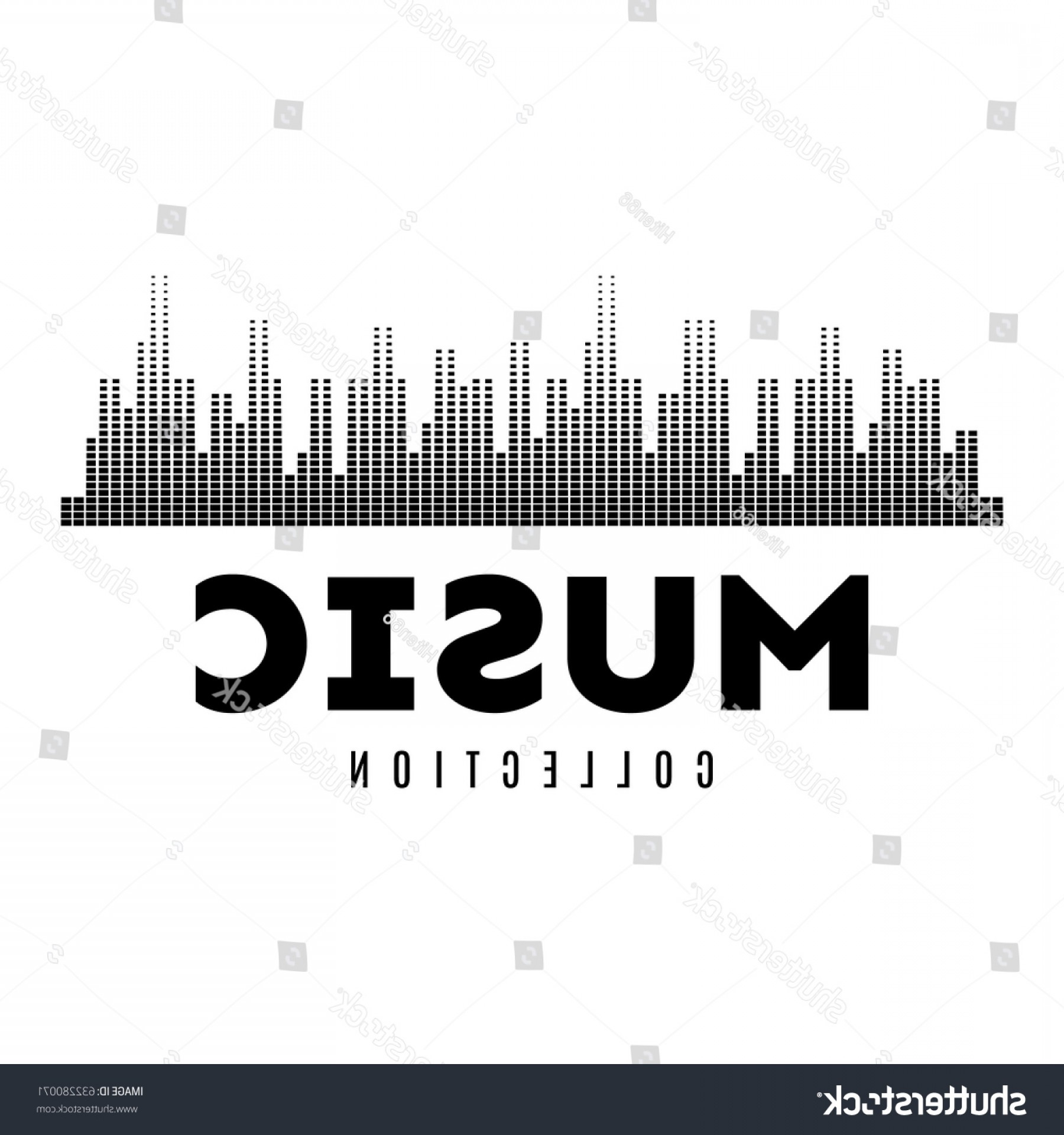Rock Band Equalizer Vector: Abstract Equalizer Halftone Dots Logo Music
