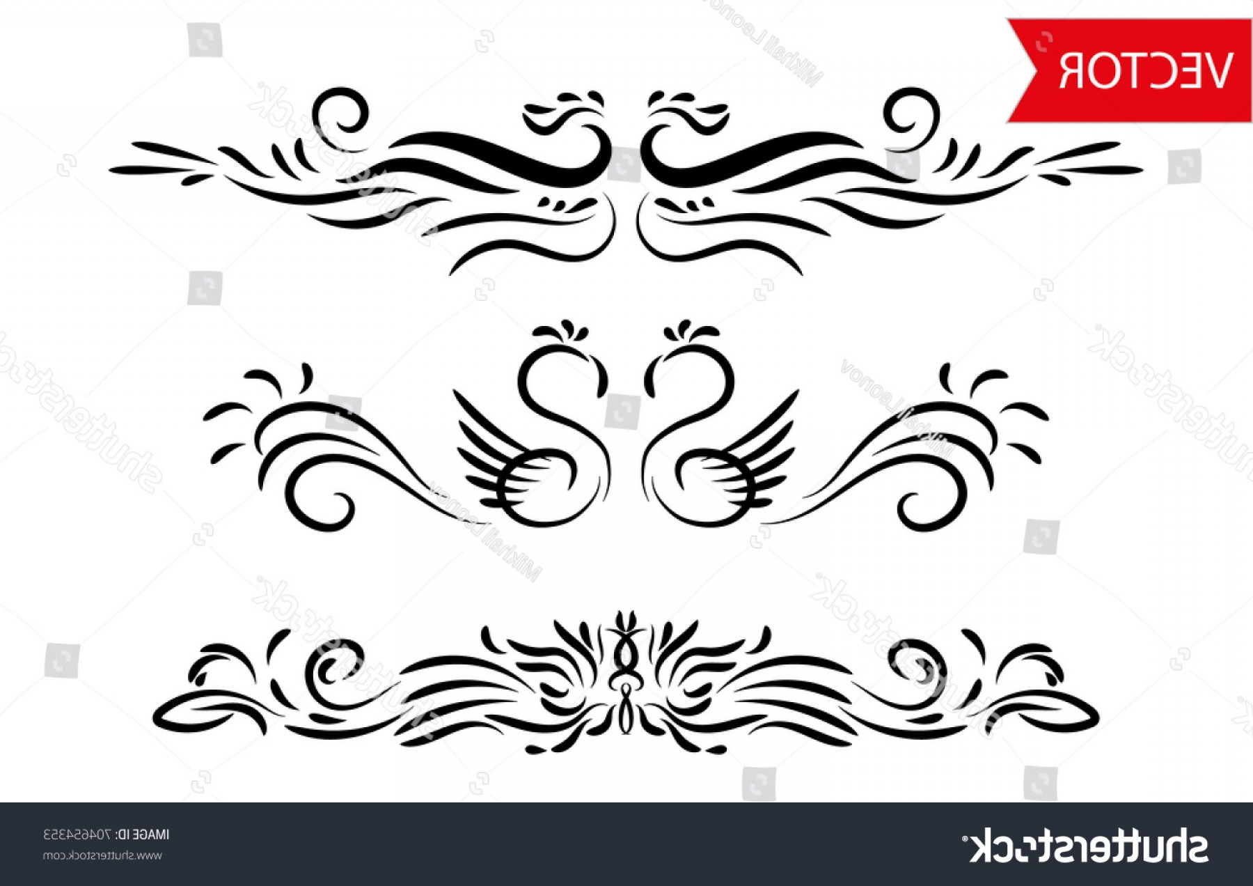 Vector Ornament Sets: Abstract Floral Animal Vector Decorative Ornament