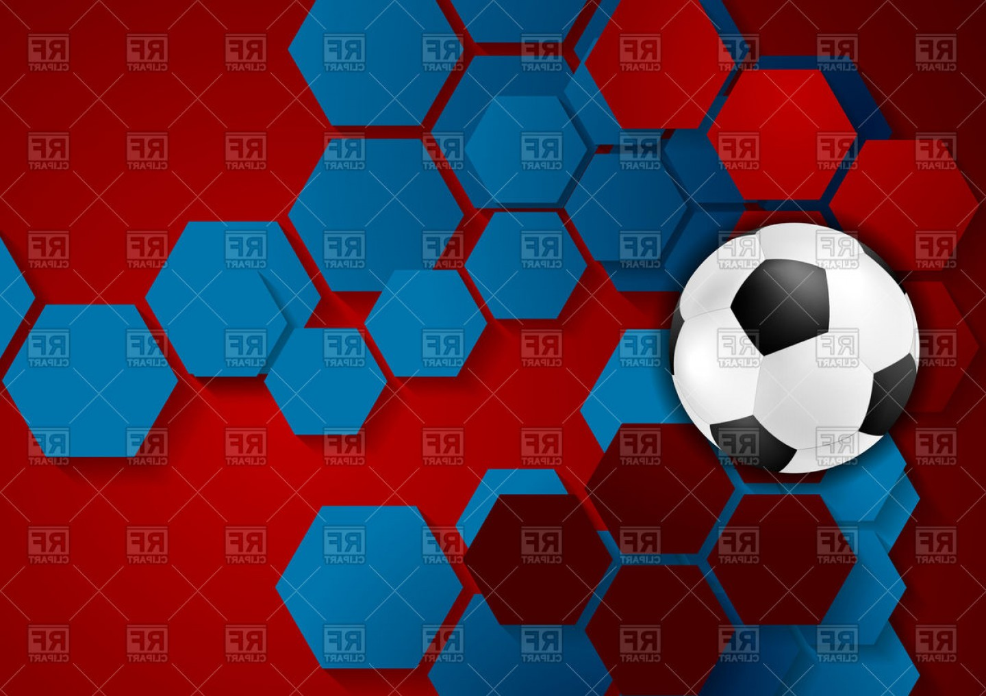 Soccer Blue Background Vector Graphics: Abstract Geometric Football Background With Soccer Ball Vector Clipart