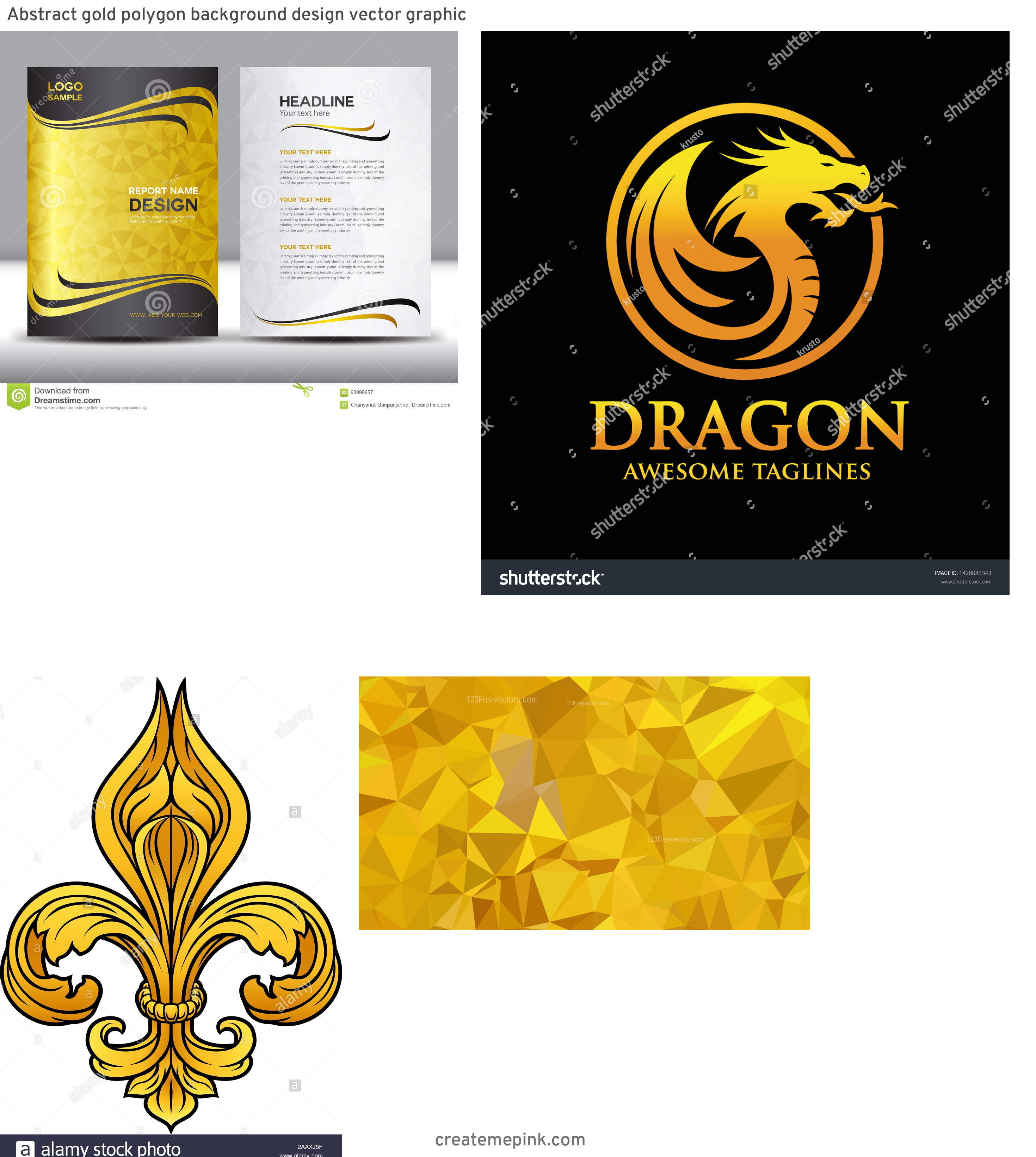 Gold Graphic Design Vectors: Abstract Gold Polygon Background Design Vector Graphic