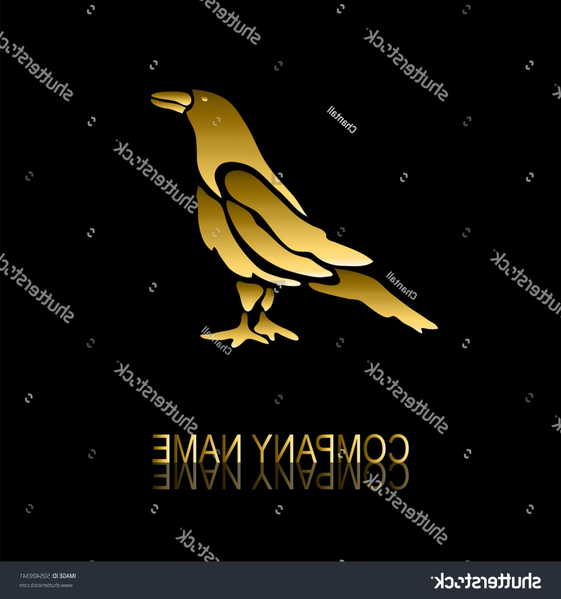 Jewelry Manufacturing Icon Vector: Abstract Golden Crow Signsymbol Design Element