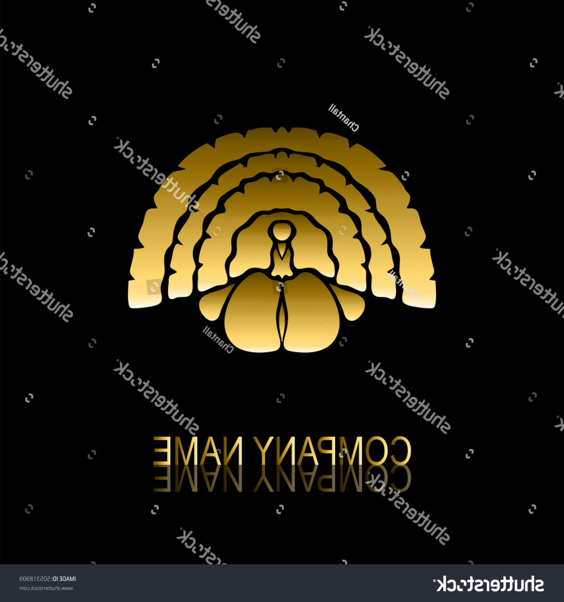 Jewelry Manufacturing Icon Vector: Abstract Golden Turkey Signsymbol Design Element