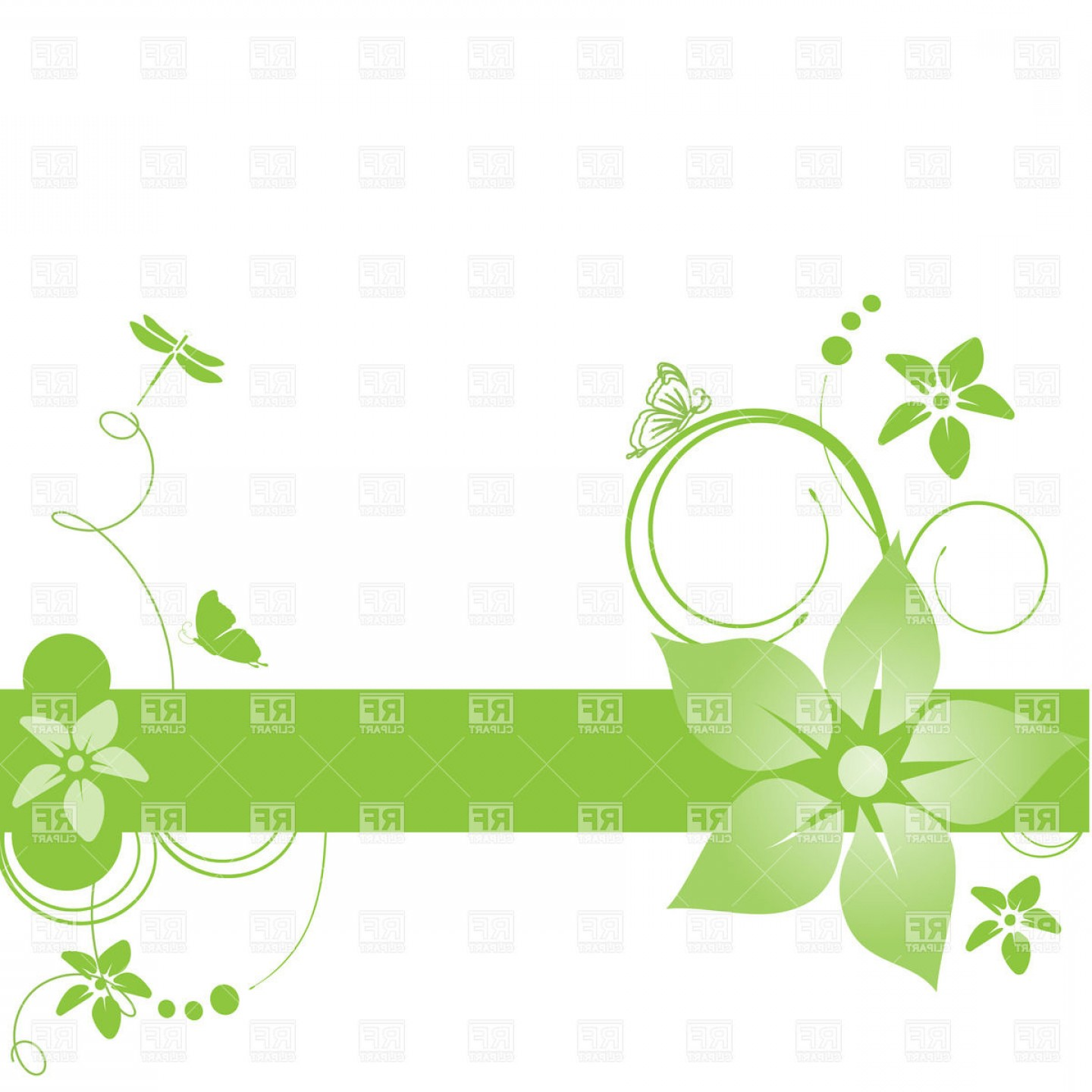 Green Flower Vector Designs: Abstract Green Banner With Simple Flowers And Curls Vector Clipart