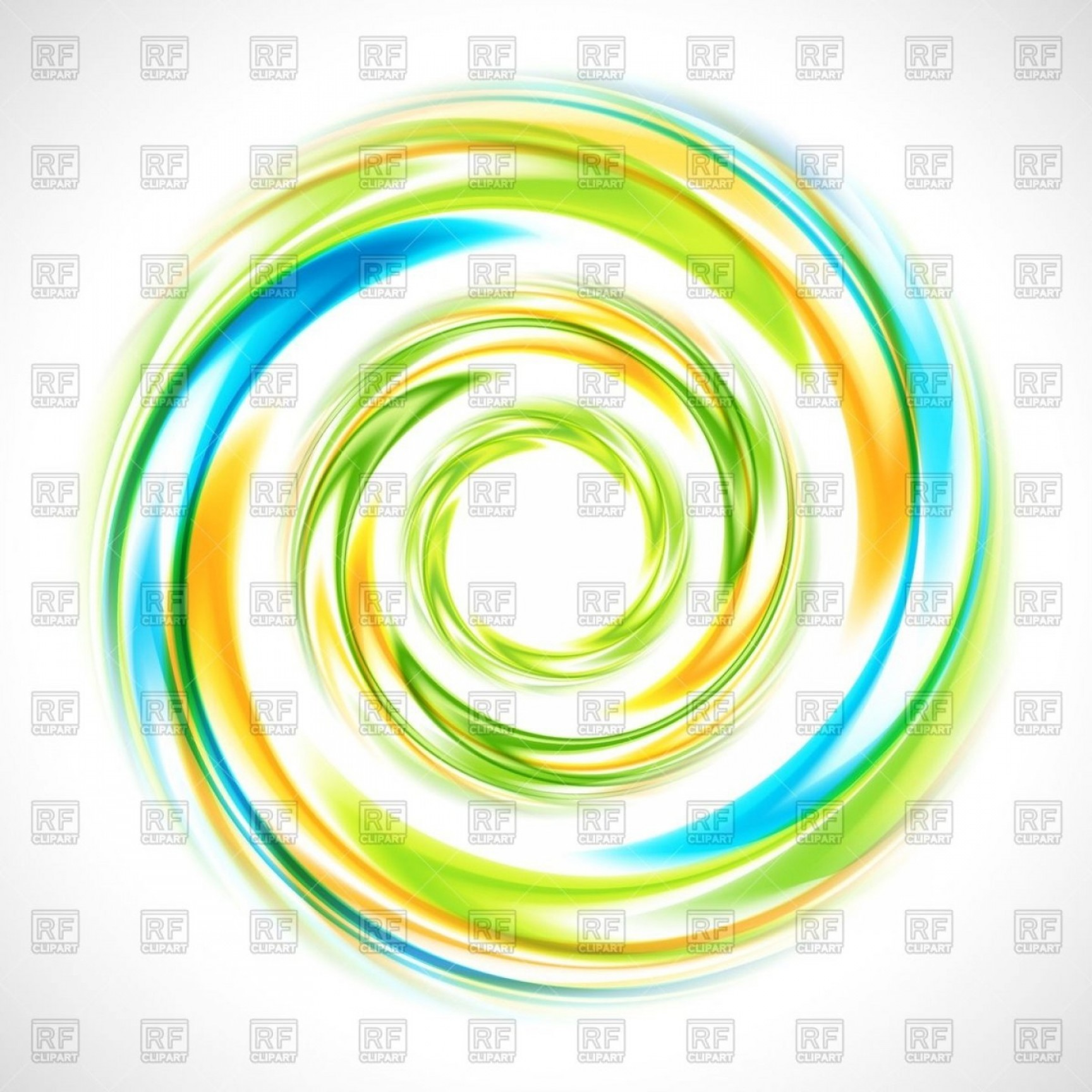 Blue And Orange Circle Vector: Abstract Green Blue And Yellow Swirl Circle Vector Clipart
