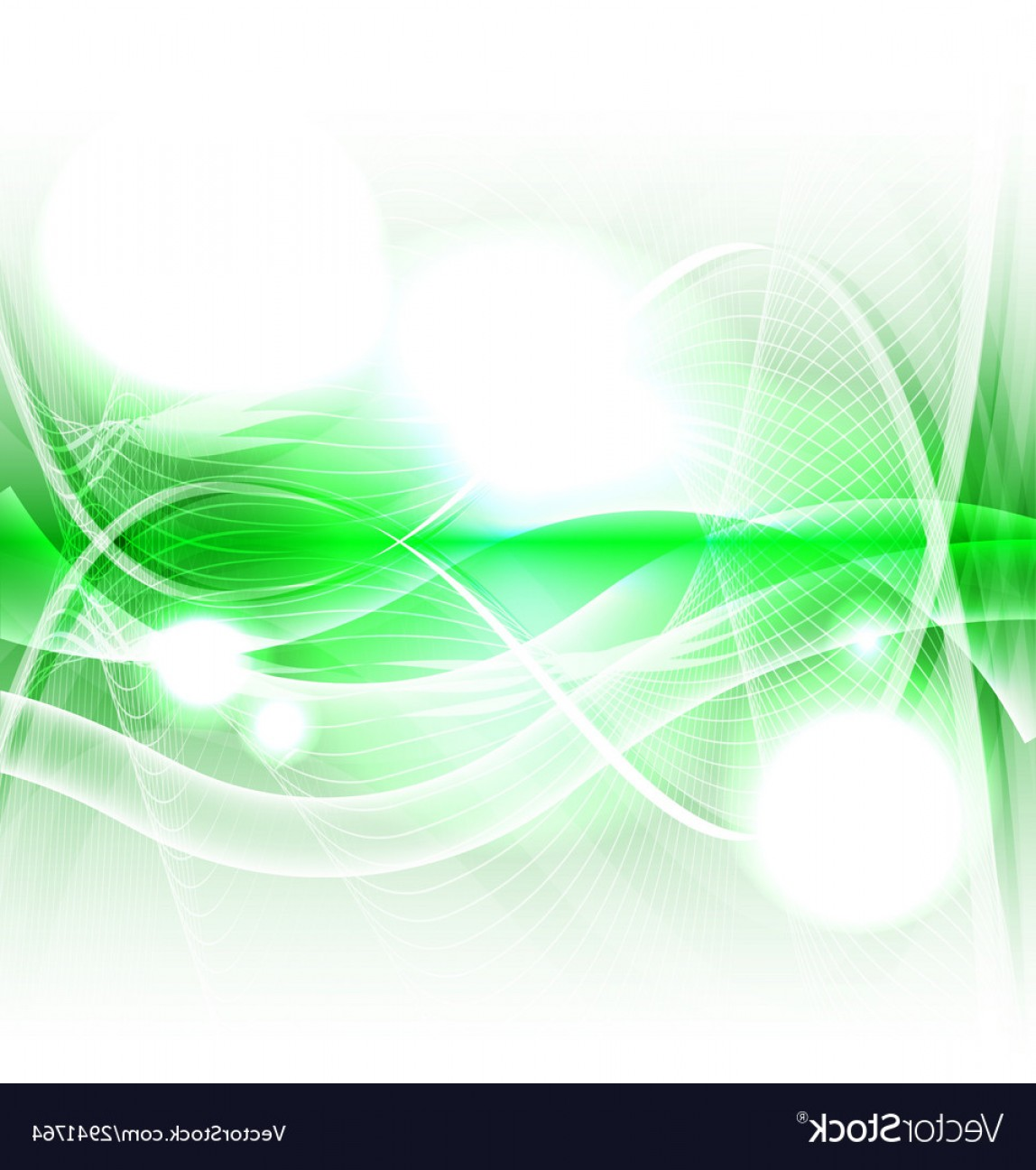 Green And White Vector: Abstract Green Wave On White Background Vector
