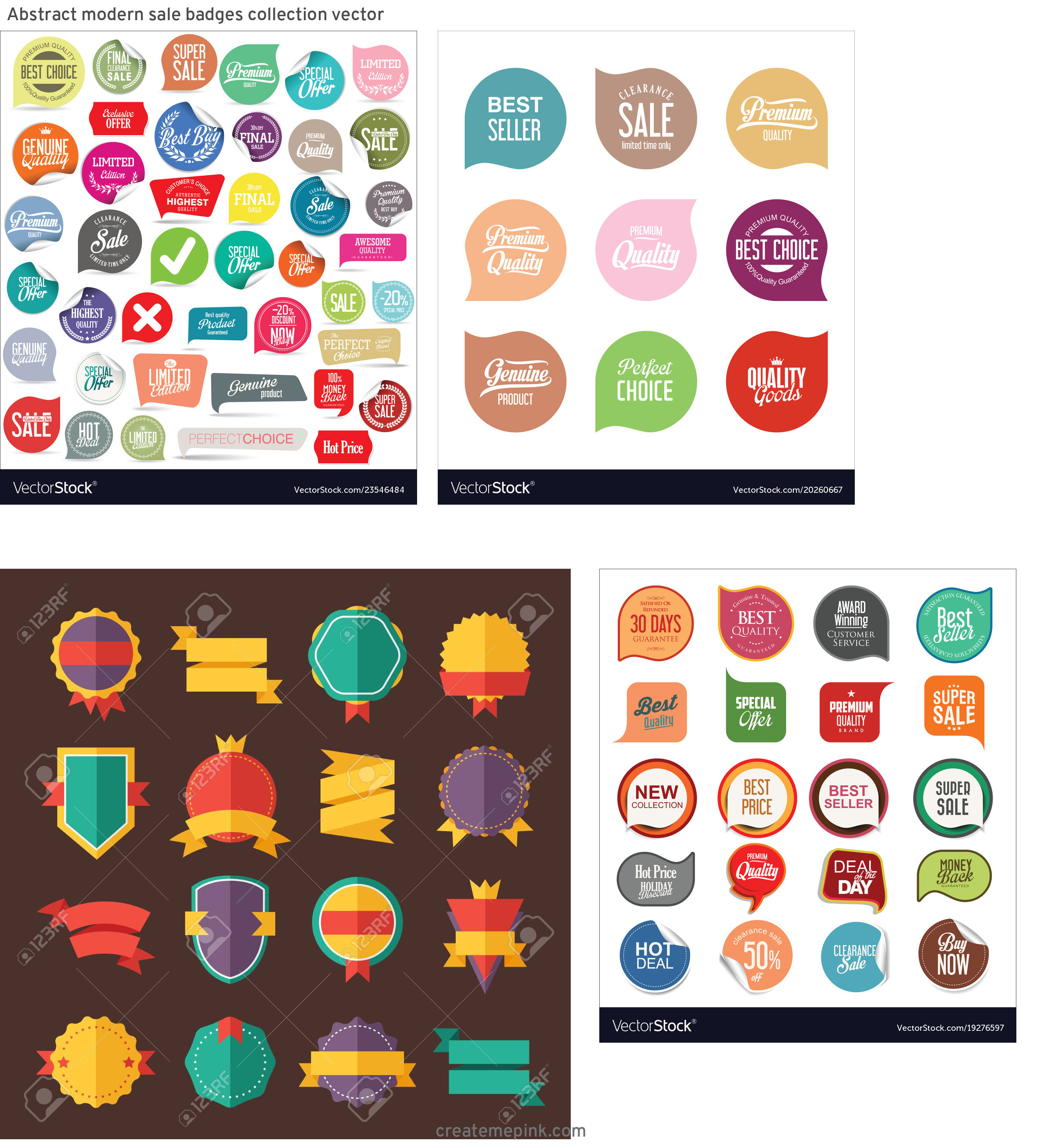 Modern Vector Badges: Abstract Modern Sale Badges Collection Vector