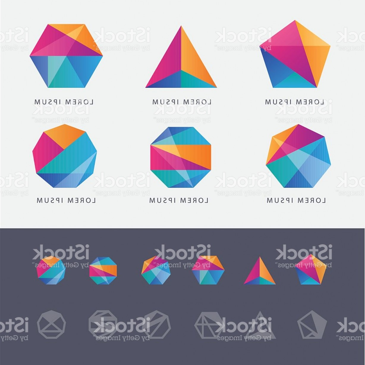 Absract Shape Logo Vector: Abstract Multicolored Geometric Polygon Shape Logo Design Marks Gm