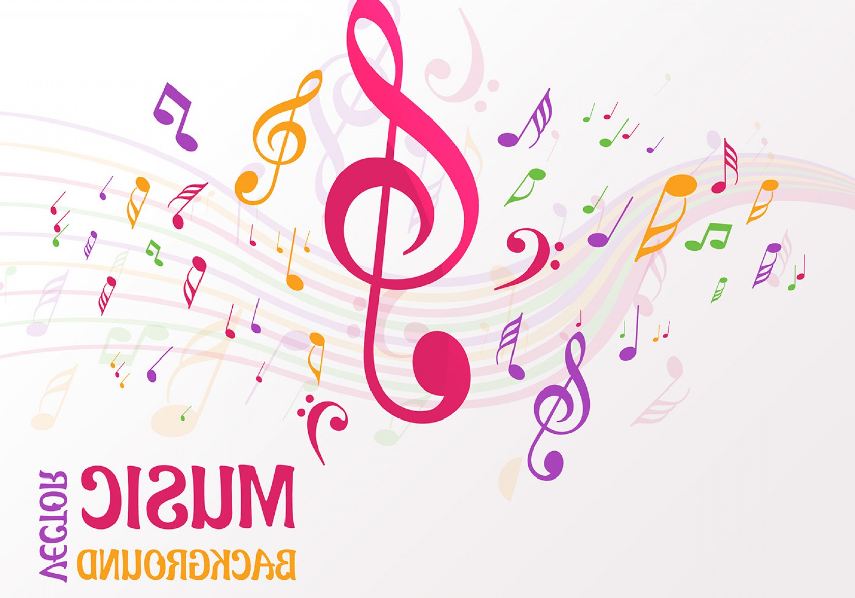 Dancing Musical Notes Vector: Abstract Music Notes Background Vector