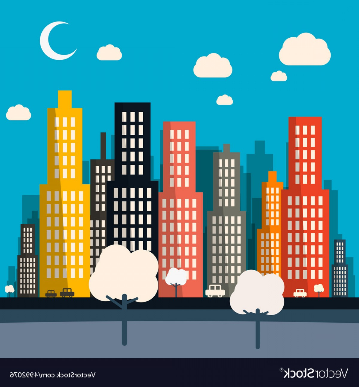 City Vector: Abstract Night Flat Design City Vector