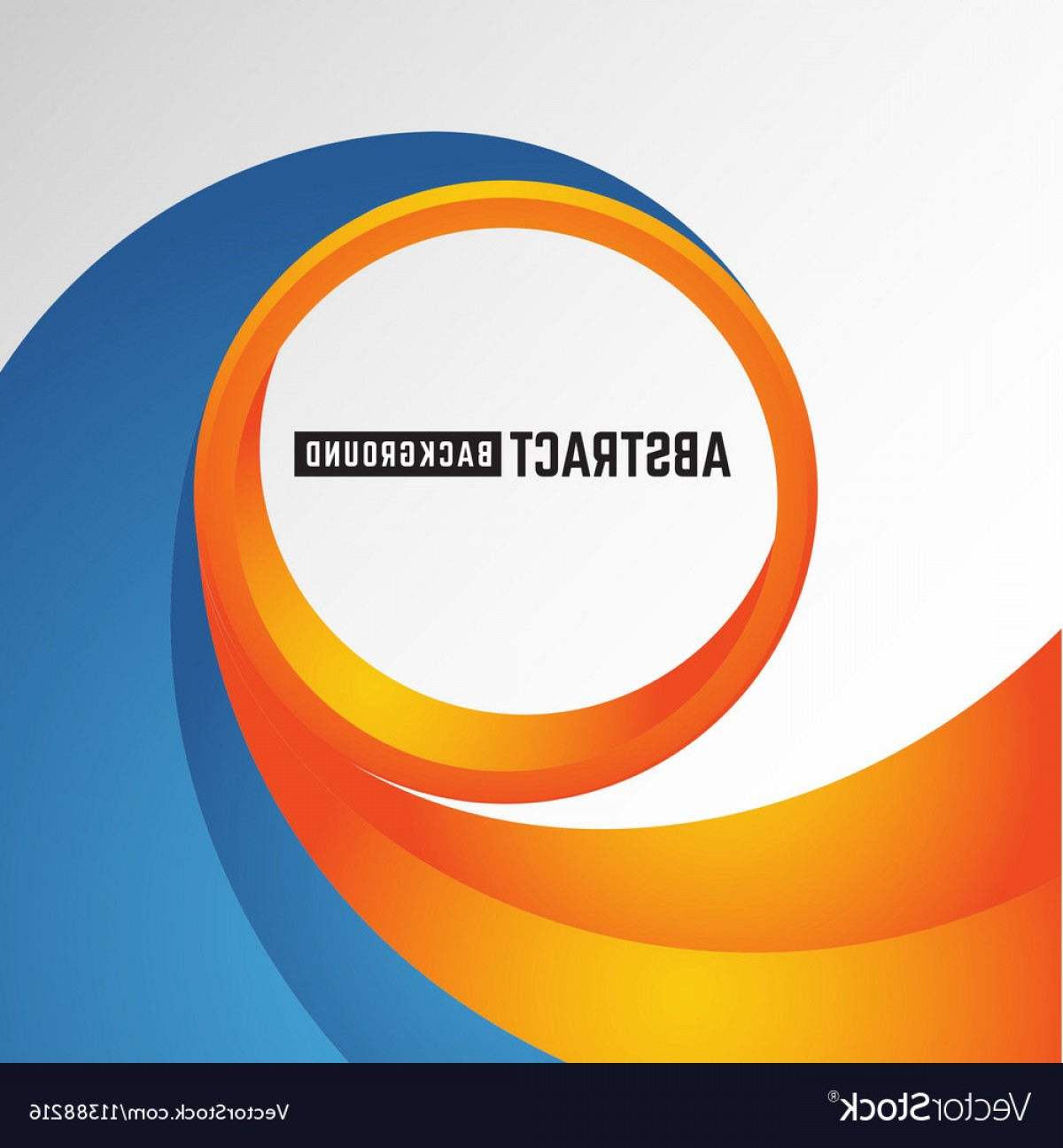 Blue And Orange Circle Vector: Abstract Orange And Blue Curve Circle Background Vector