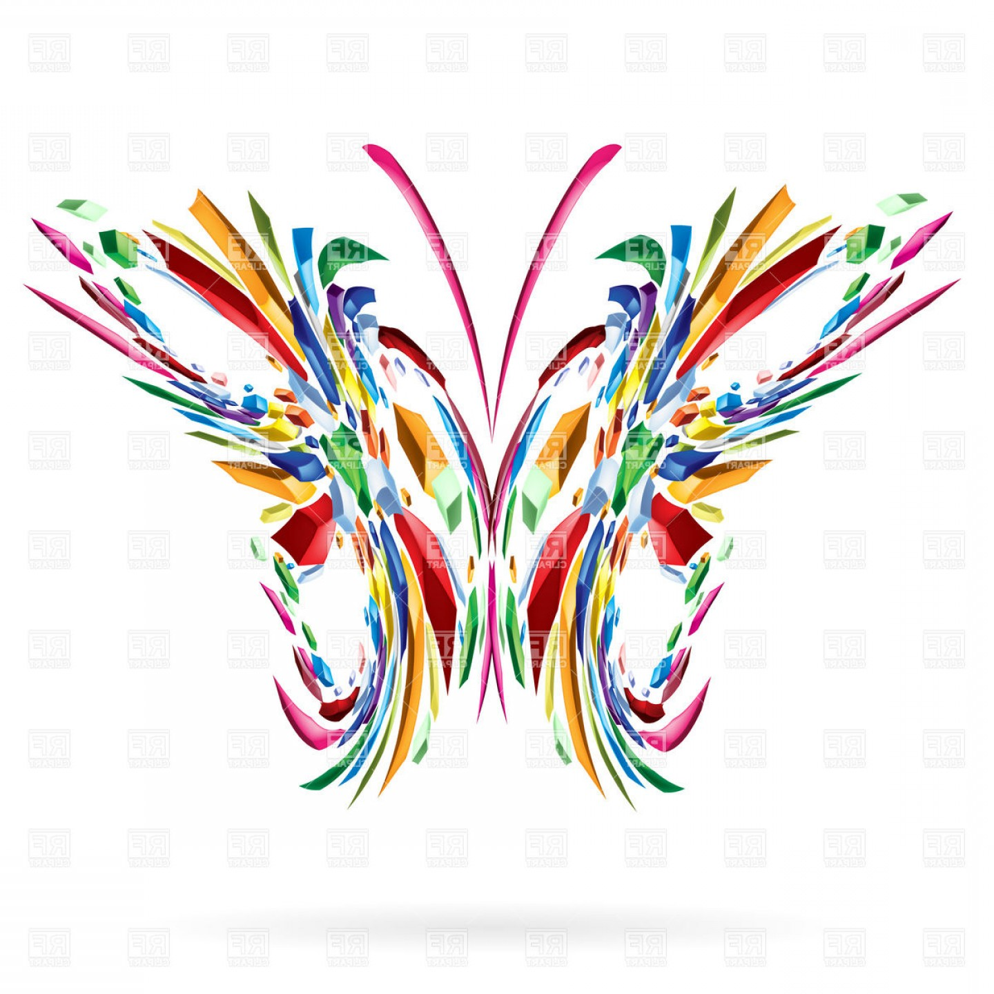 Free Abstract Vector Art: Abstract Ornate Butterfly Vector Clipart