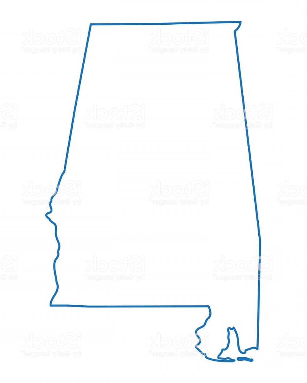 Alabama Outline Vector: Abstract Outline Of Alabama Map Gm