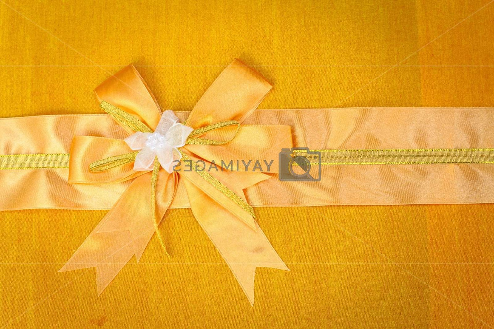 Fabric Orange Ribbon Vector: Abstract Ribbon Bow On Fabric Background