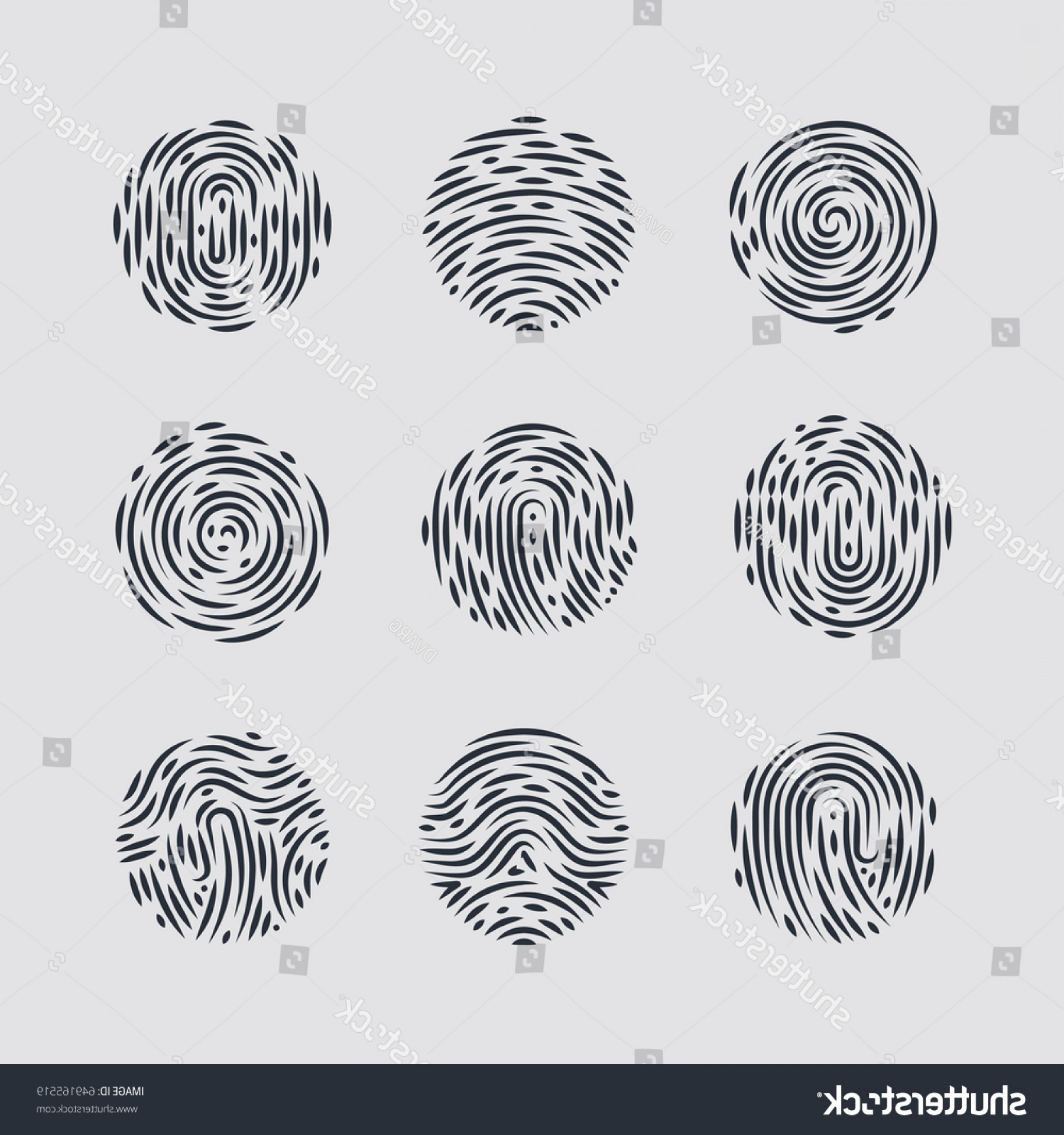 Security Vector Patterns: Abstract Round Fingerprint Patterns Identity Person