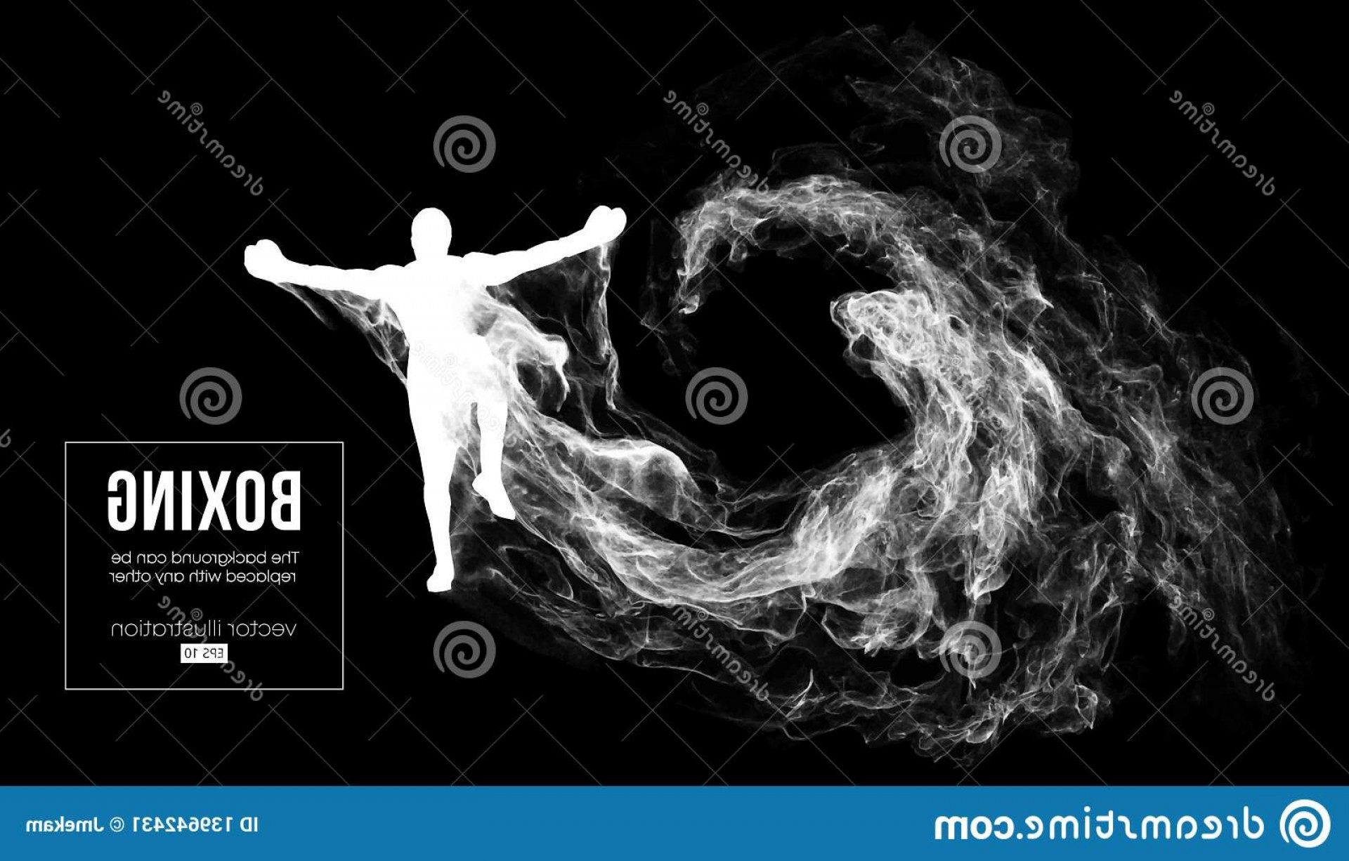UFC Kick Vector: Abstract Silhouette Boxer Mma Ufc Fighter Dark Black Background Winner Vector Illustration Particles Dust Image