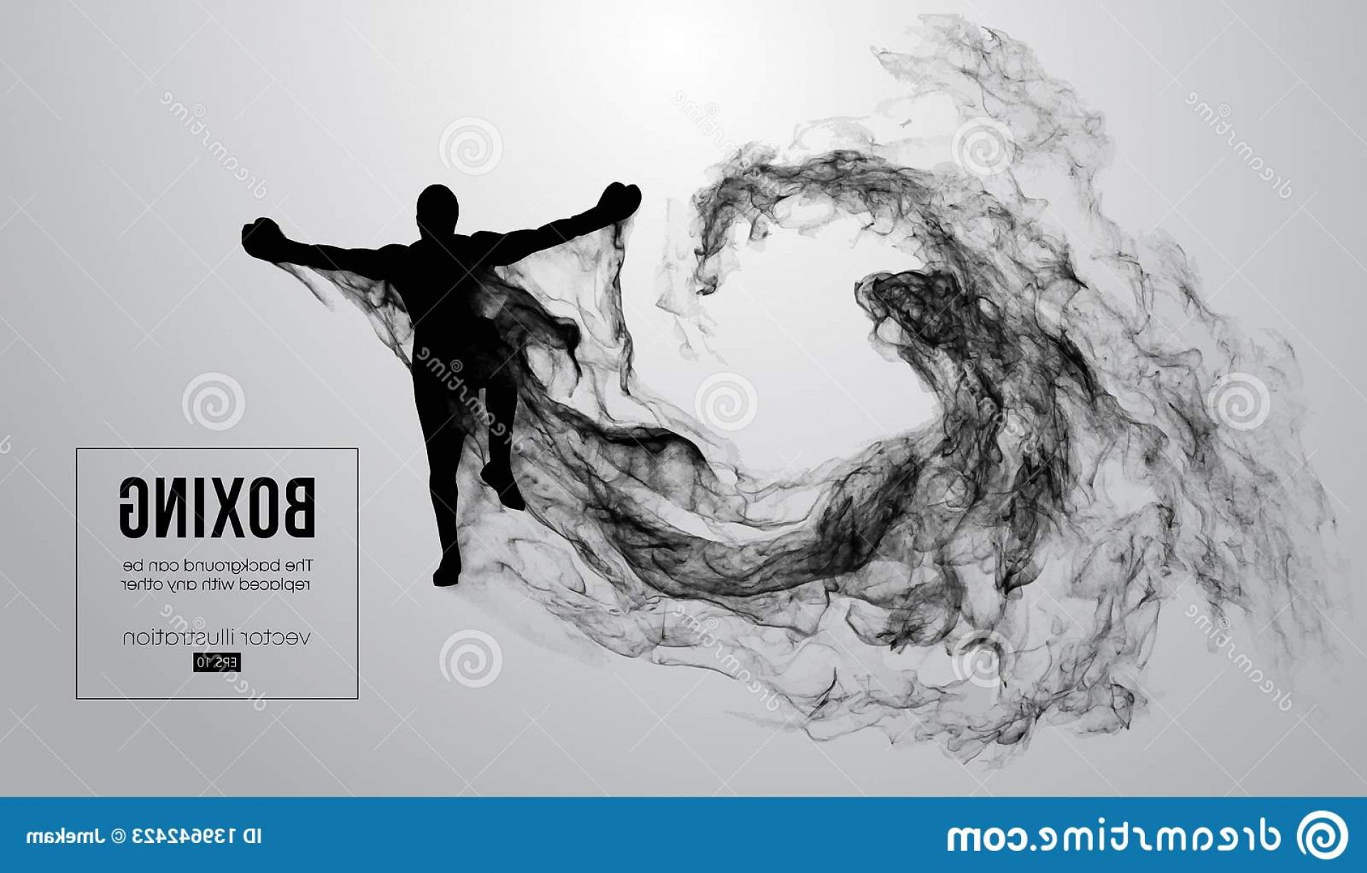 UFC Kick Vector: Abstract Silhouette Boxer Mma Ufc Fighter White Background Winner Vector Illustration Particles Dust Smoke Image