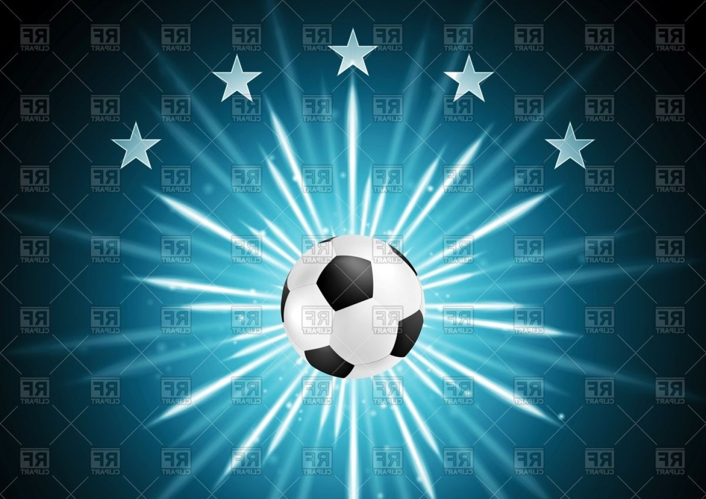 Soccer Blue Background Vector Graphics: Abstract Soccer Background With Ball And Stars Vector Clipart