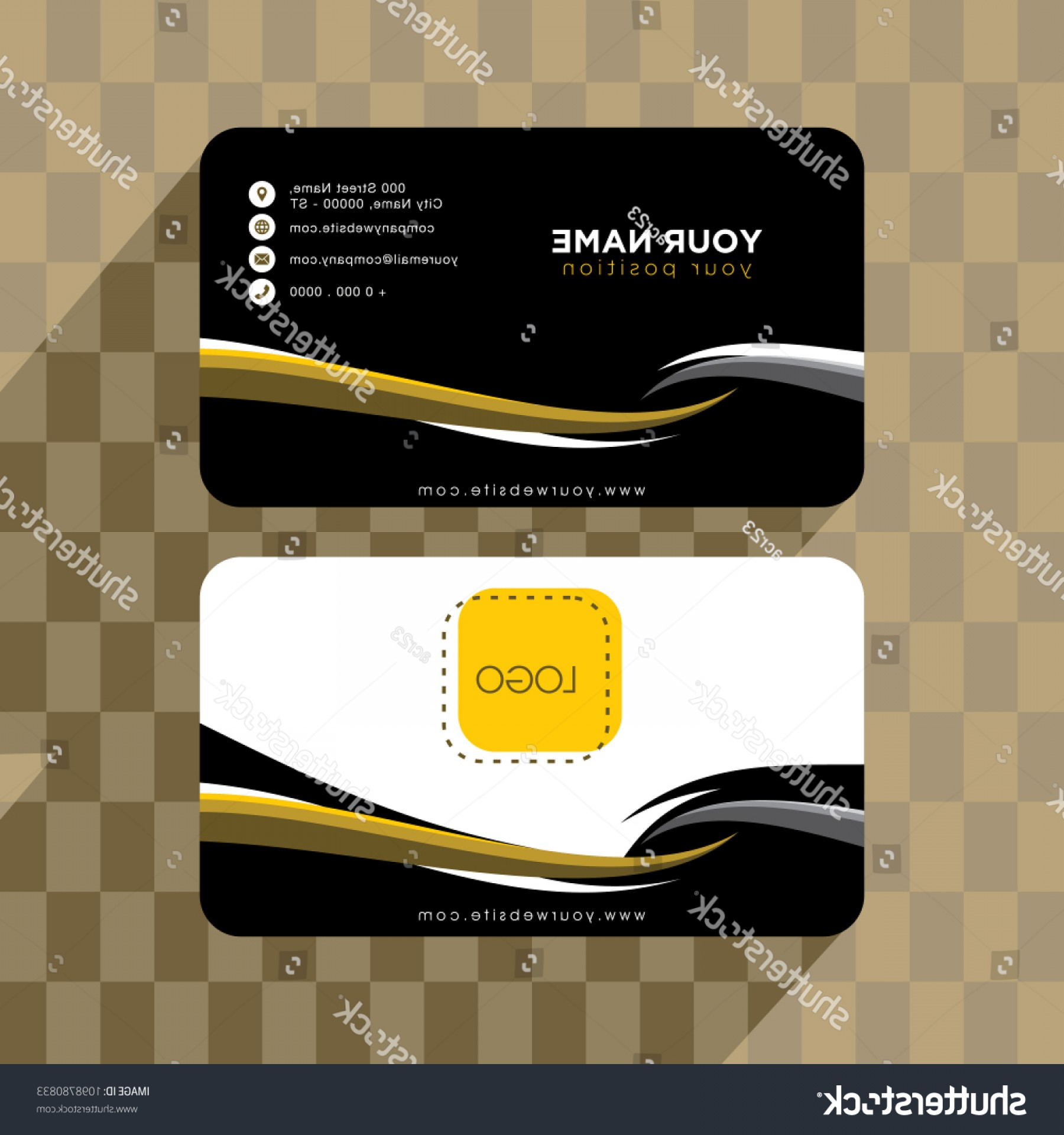 Vector Swoosh Simple Two Line: Abstract Swoosh Simple Business Card Template
