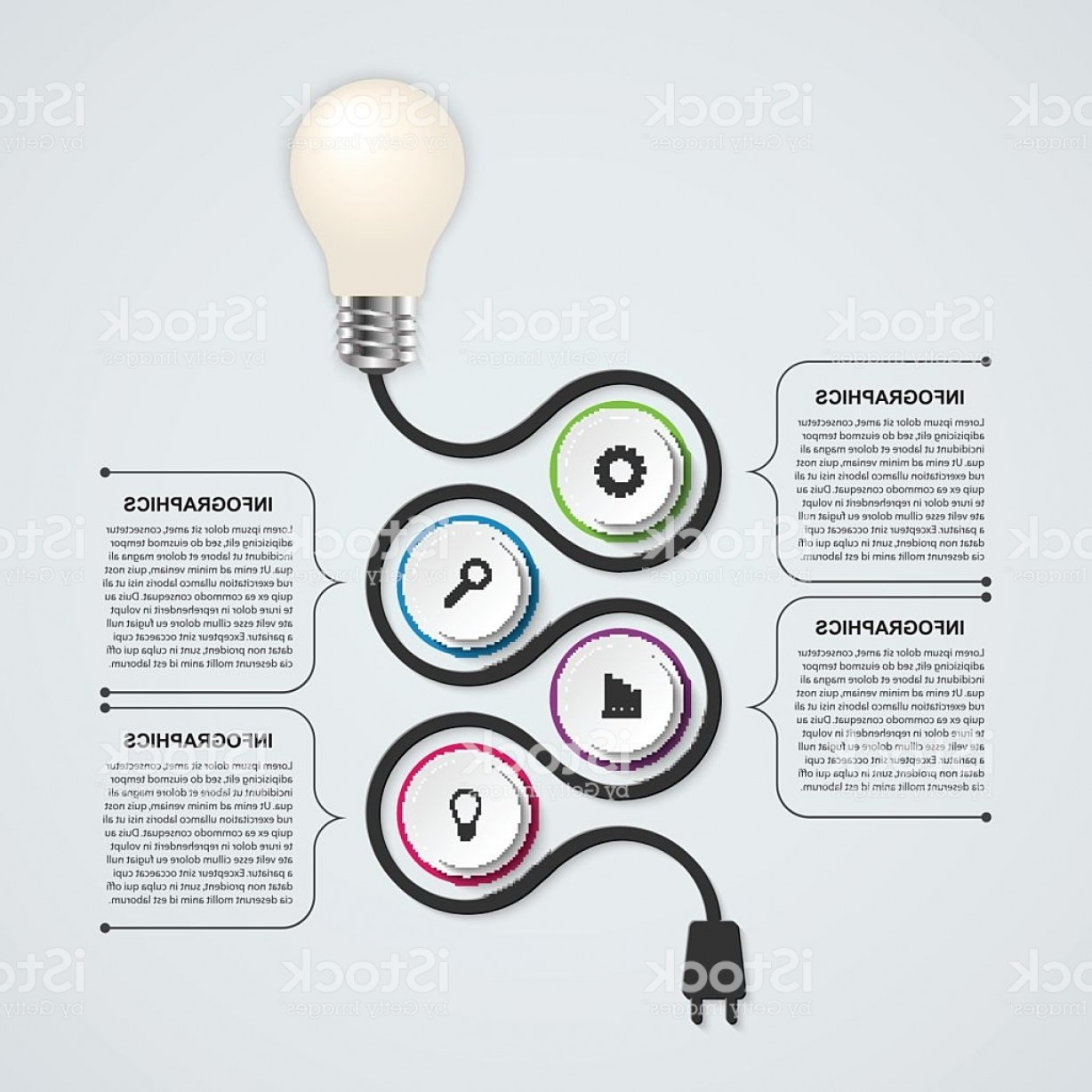 Null Vector Lighting: Abstract Technology Infographics Design Template Light Bulb Gm