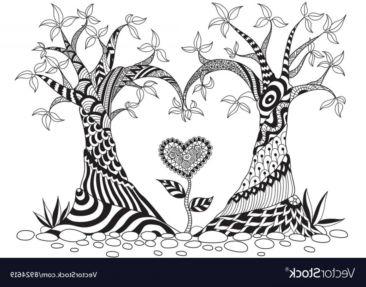 Tree Abstract Line Art And Vector: Abstract Trees In Heart Shape Line Art Design For Vector