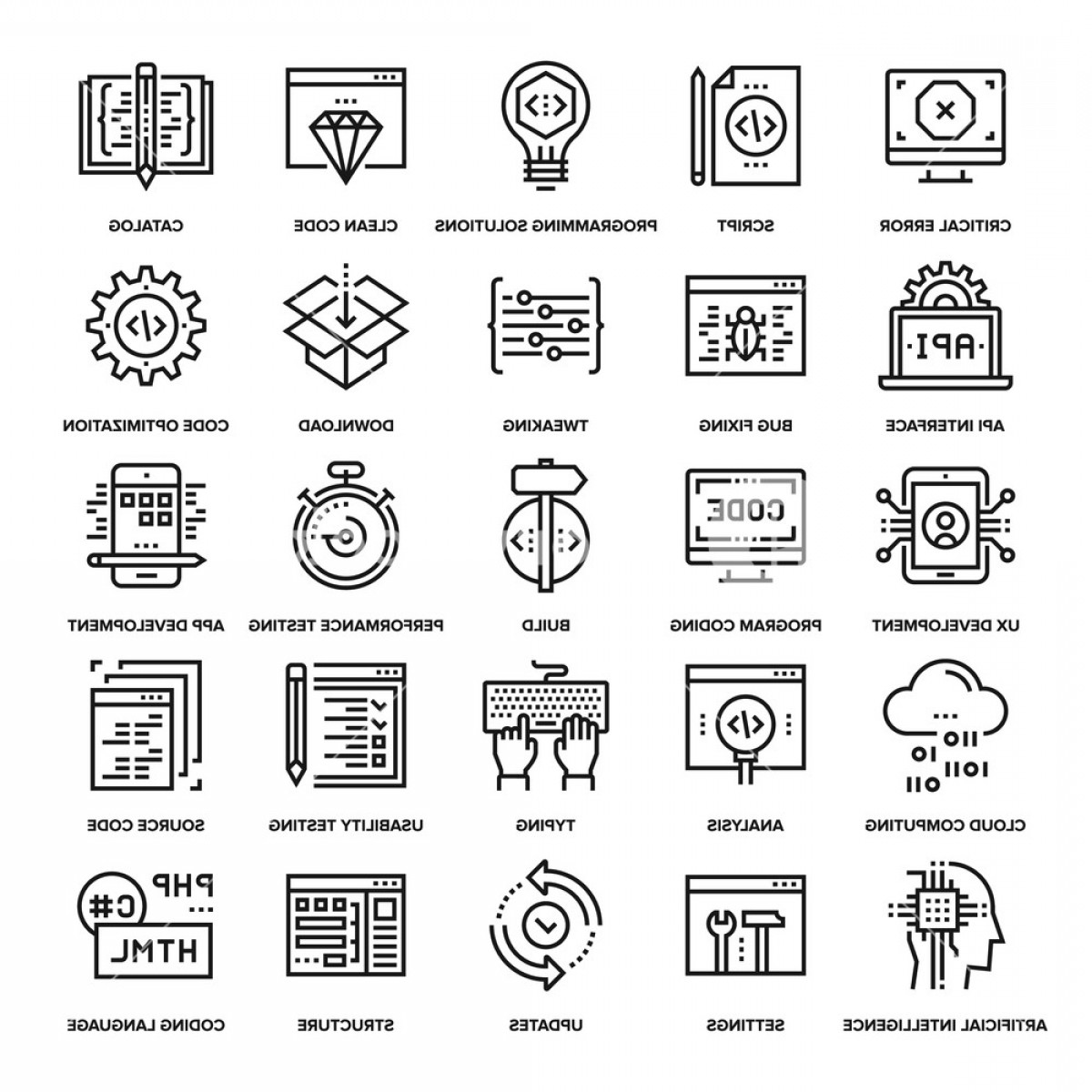 Vector Web Code: Abstract Vector Collection Of Line Program Coding Icons Elements For Mobile And Web Applications Hegnntonclizreu