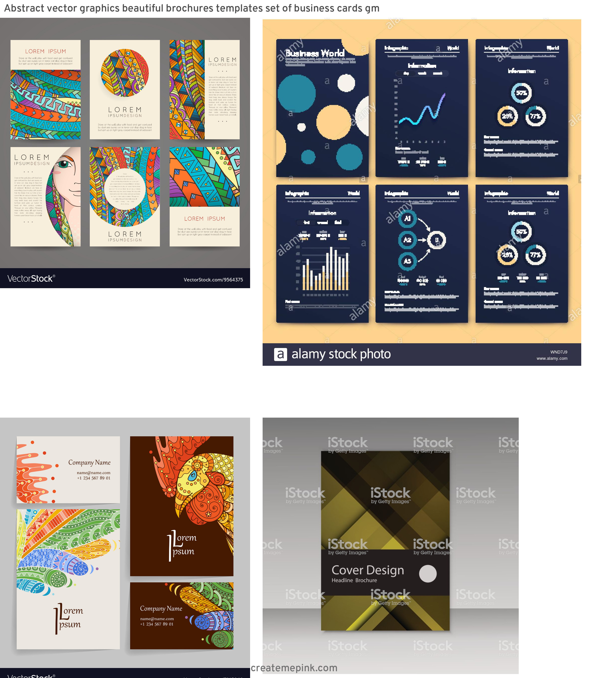 Vector Art For Brochures: Abstract Vector Graphics Beautiful Brochures Templates Set Of Business Cards Gm