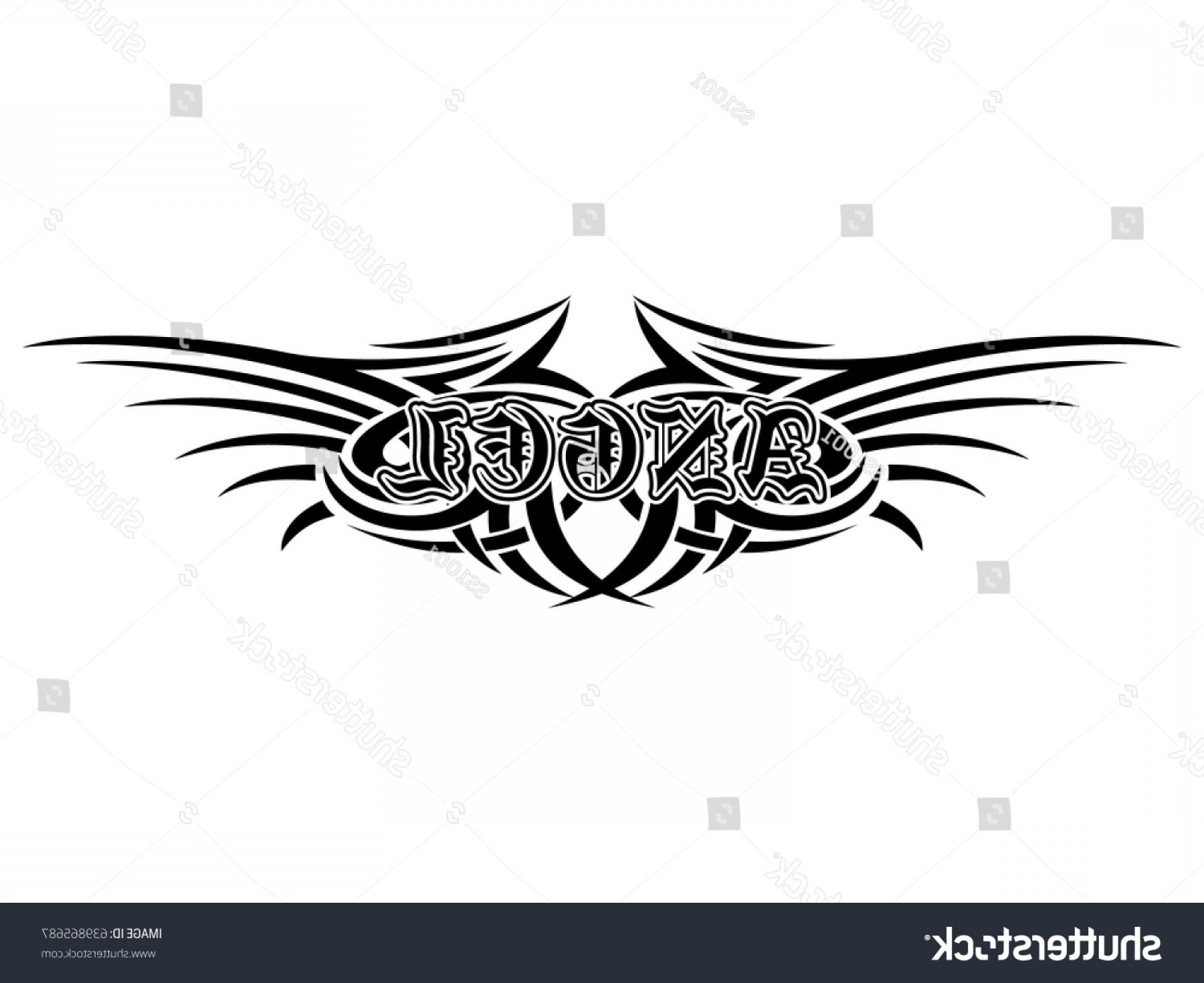 Angel Wings Tattoo Tribal Vector: Abstract Vector Illustration Black White Tribal