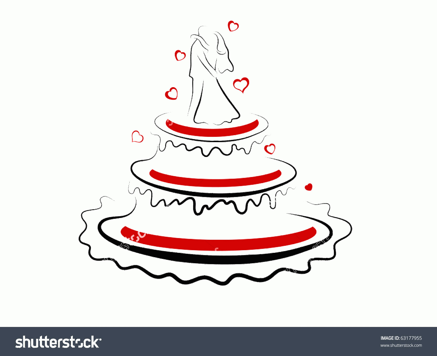 Vector Abstract Art Cake: Abstract Vector Illustration Wedding Cake