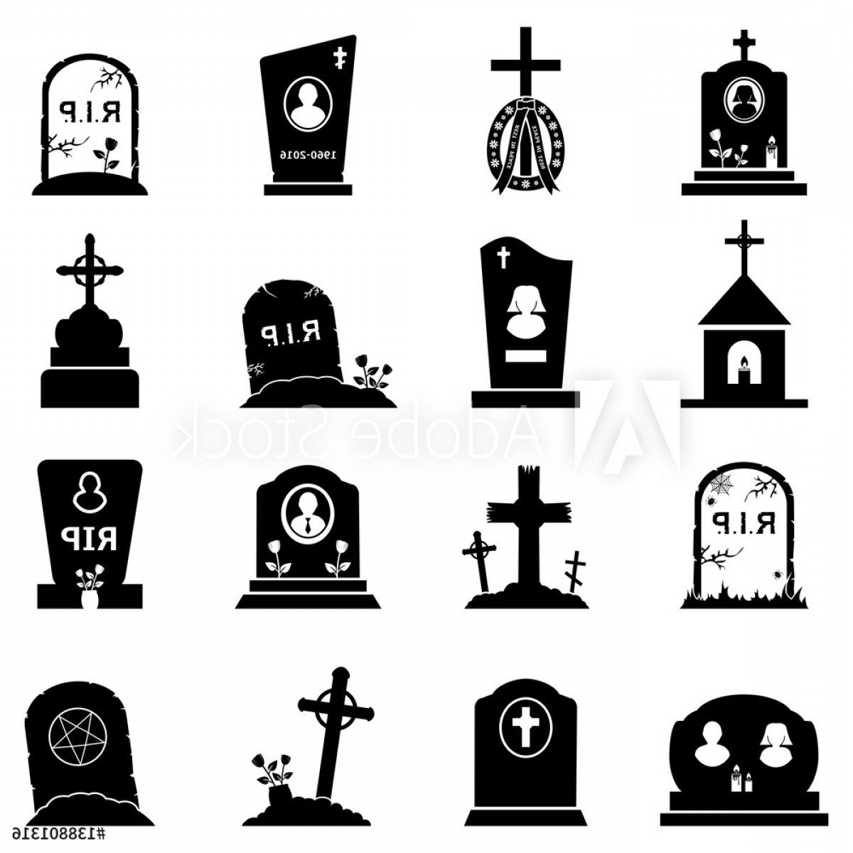 Gravestone Black And Whit Vector JPEG: Abstract Vector Set Of Gravestones And Tombstones Icons On A White Background F