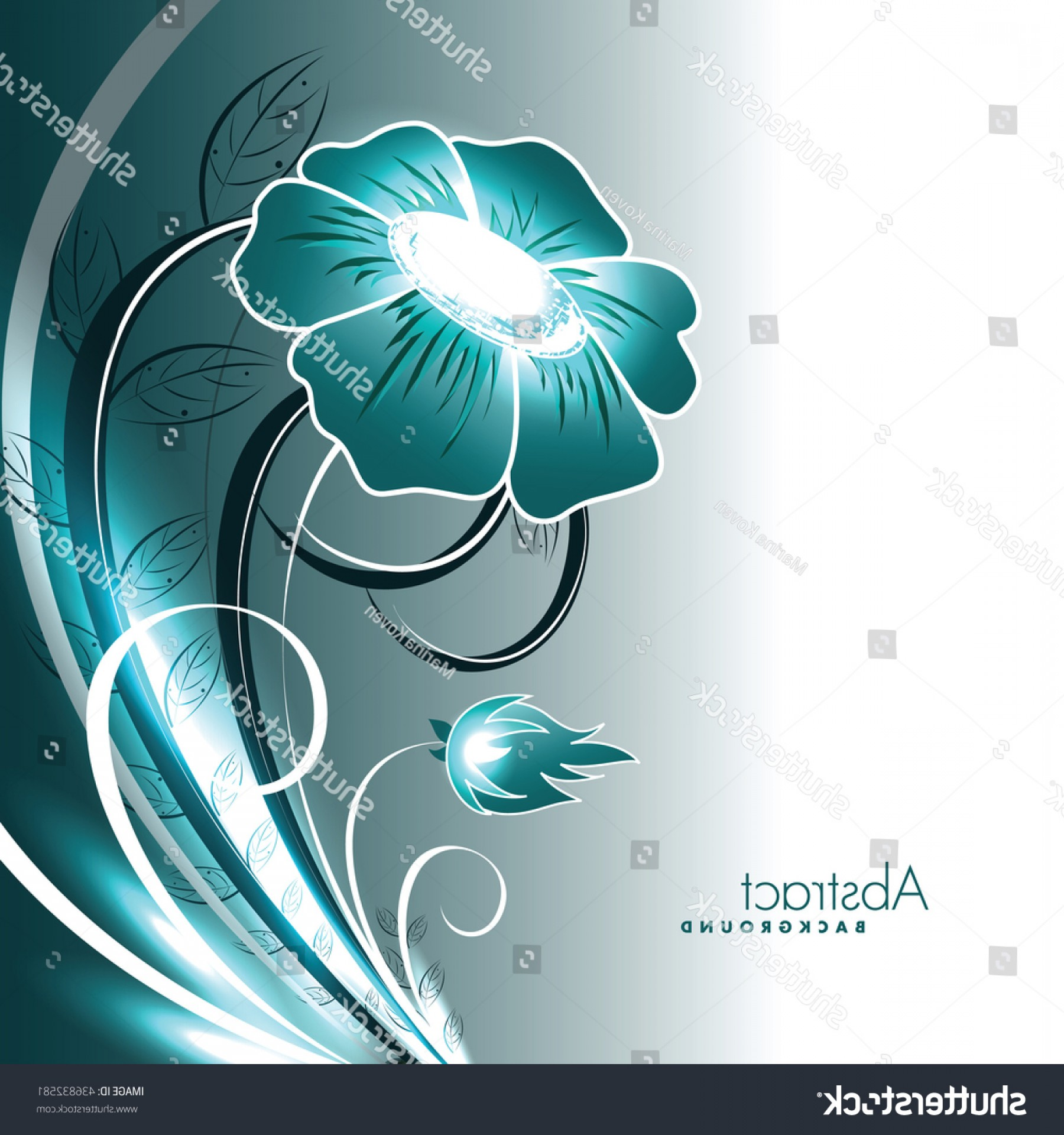 Turquoise Flower Vector: Abstract Vector Shiny Turquoise Flower