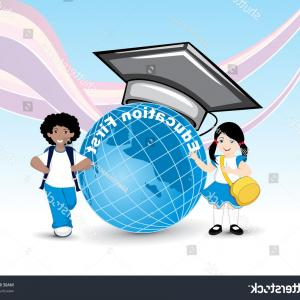 Abstract Vector Art Globe TV: Abstract Background Graduation Cap On Globe