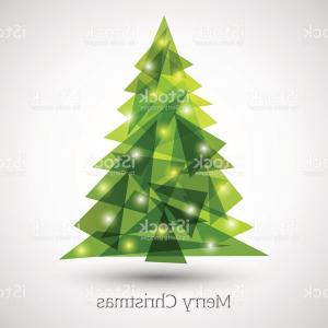 Less Christmas Tree Abstract Vector Background: Abstract Christmas Tree Made Of Green Triangles Gm