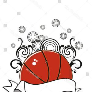 Basketball Clip Art Vector Abstract: Abstract Circle Background Decorated Basketball Ribbon