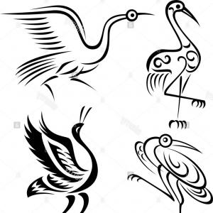 Flying Cranes Bird Vector: Abstract Crane Bird Tattoo Symbol Image