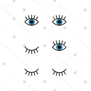 Green Cartoon Eyes Vector Png: Abstract Set Open Winking Closed Eyes