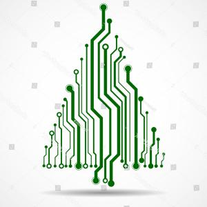 Tree Circuit Board Vector Graphic: Abstract Technology Christmas Tree Circuit Board
