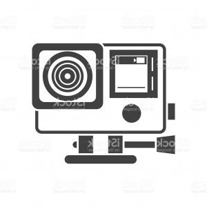Camera Outline Vector Graphic: Camera Outline Symbol Dark On White Background Vector