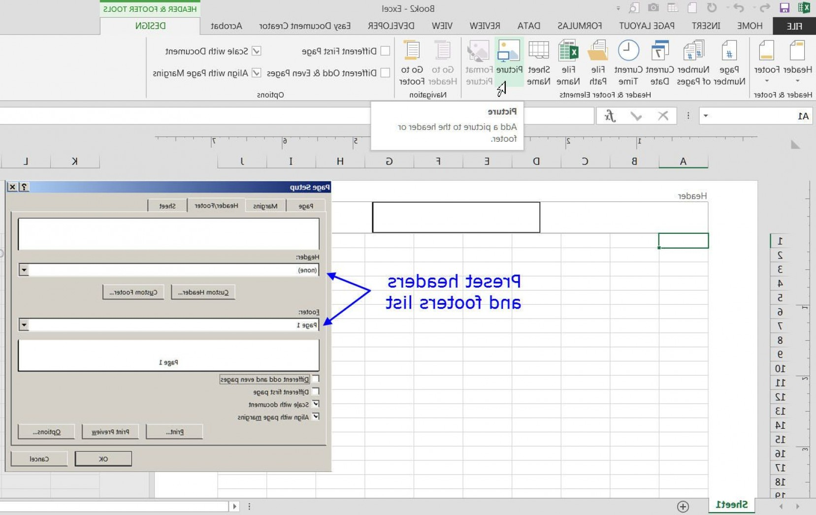 First Vector In Excel: Add Headers And Footers To Excel Worksheets