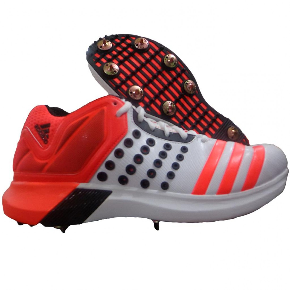 Adidas Brand Vector: Adidas Adipower Vector Mid Full Spike Cricket Shoes Red And White