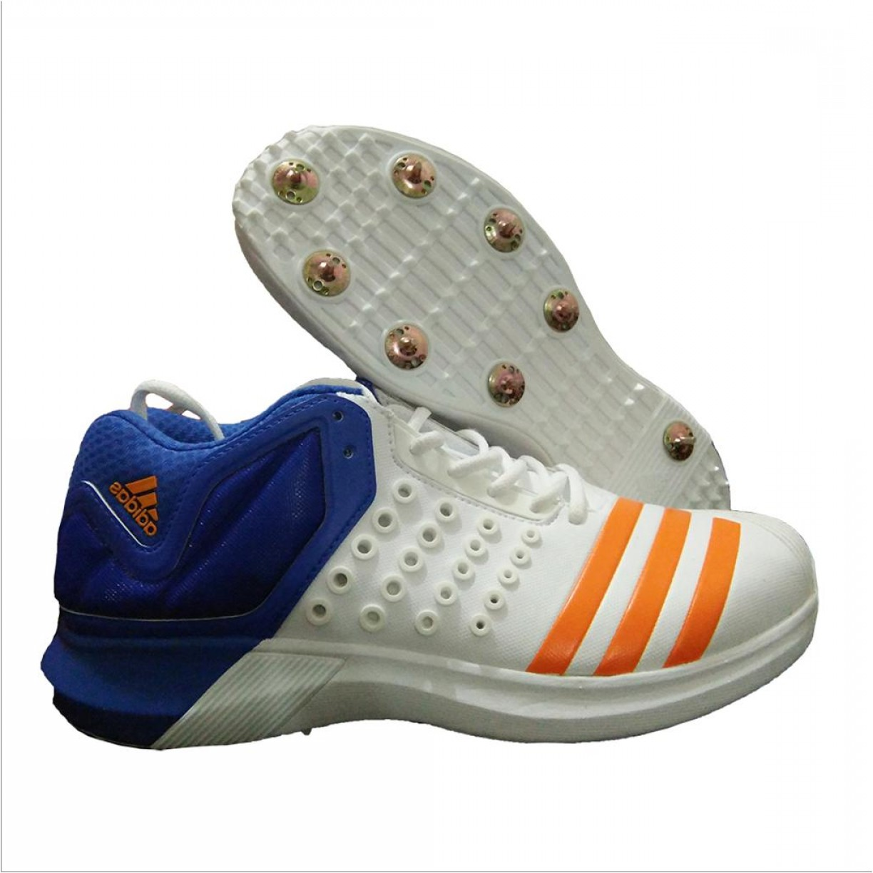 Adidas Brand Vector: Adidas Adipower Vector Mid Full Spike Cricket Shoes White Orange And Blue
