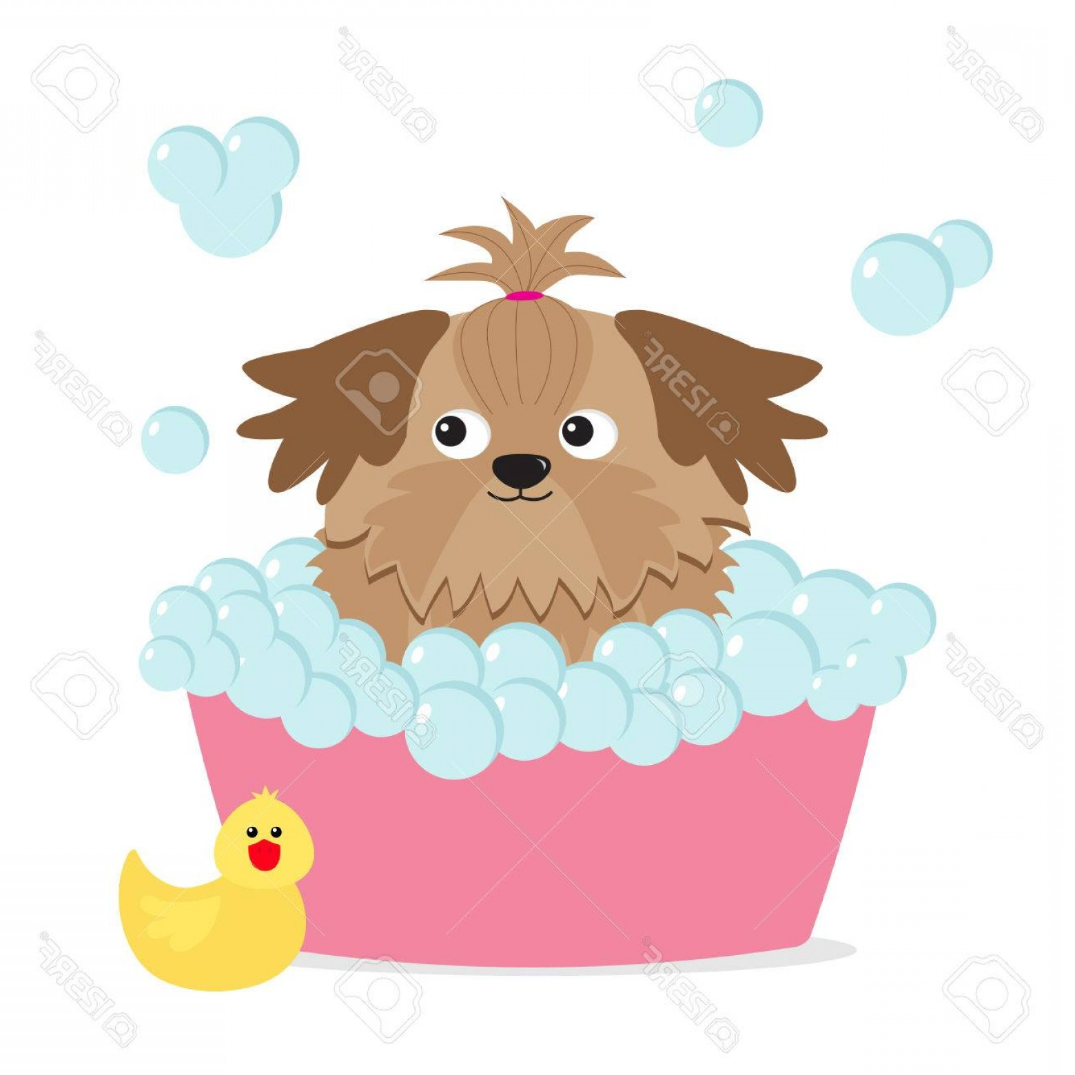 Dog Bubble Bath Vector: Adorable Photostock Vector Little Glamour Tan Shih Tzu Dog Taking A Bubble Bath Yellow Duck Bird Toy Cute Cartoon Baby Characte