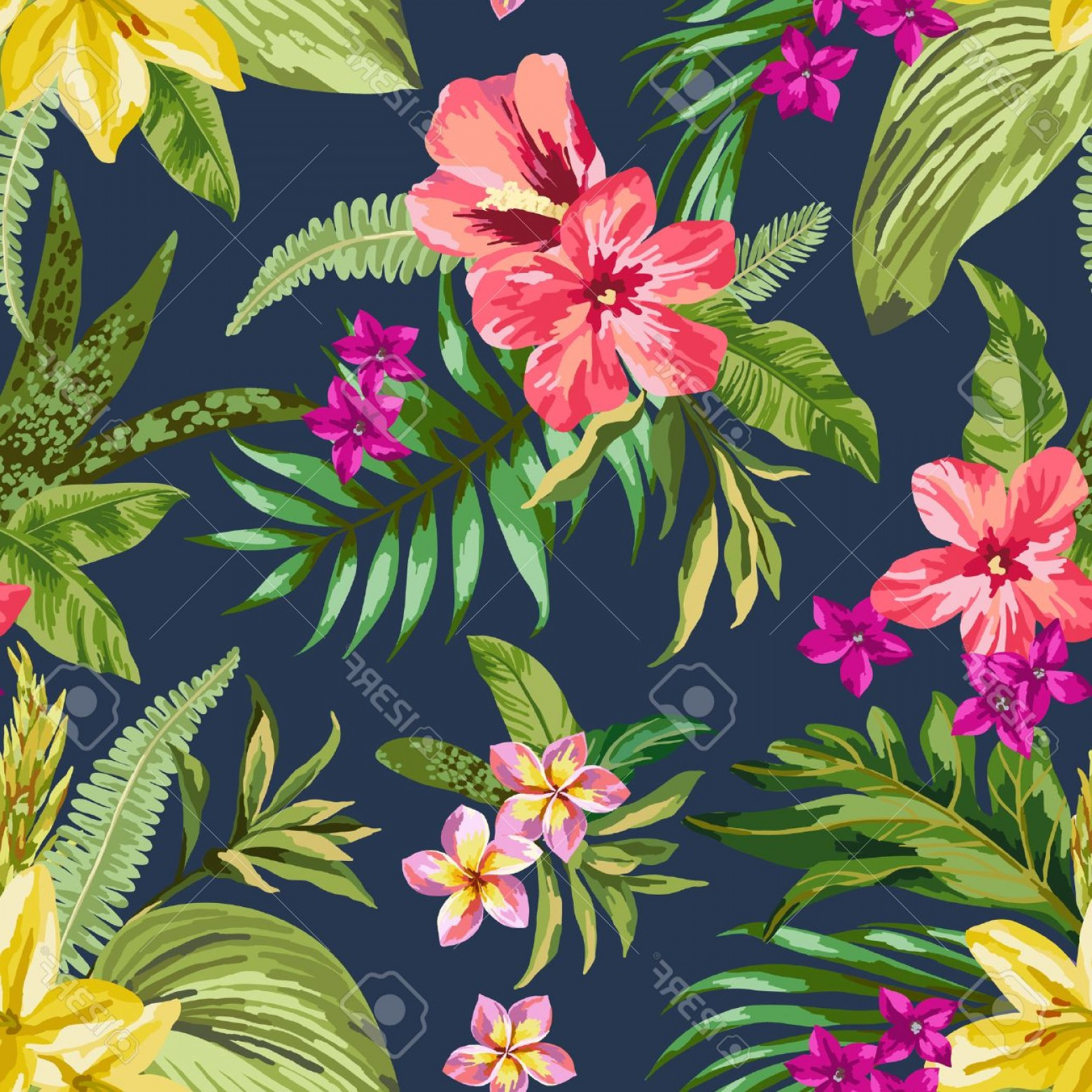 Hawaiian Flower Seamless Vector Pattern: Adorable Photostock Vector Seamless Exotic Pattern With Tropical Leaves And Flowers Blooming Jungle Vector Illustration