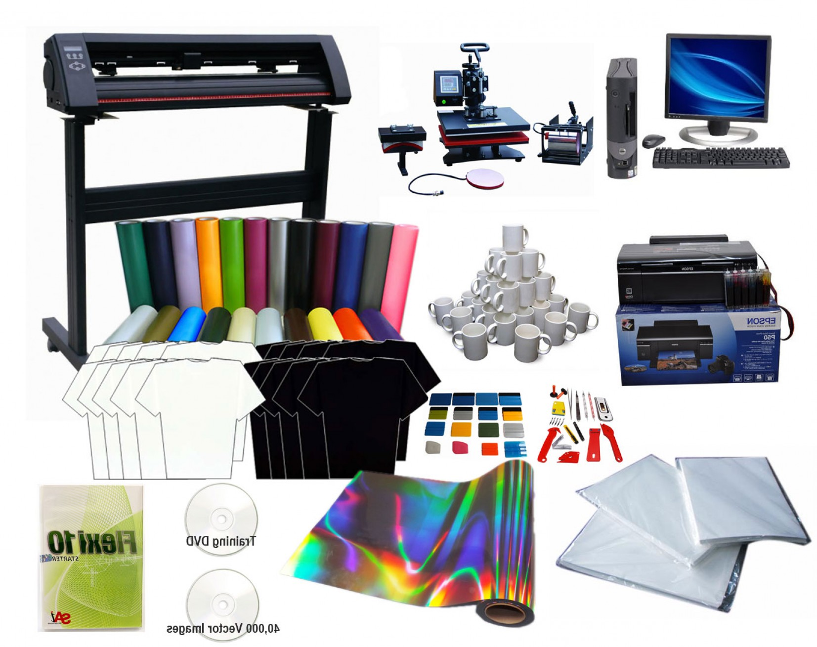 Screen Printing Equipment Vector: Advanced T Shirt Printing Vinyl Cutter Heat Press Package Package P