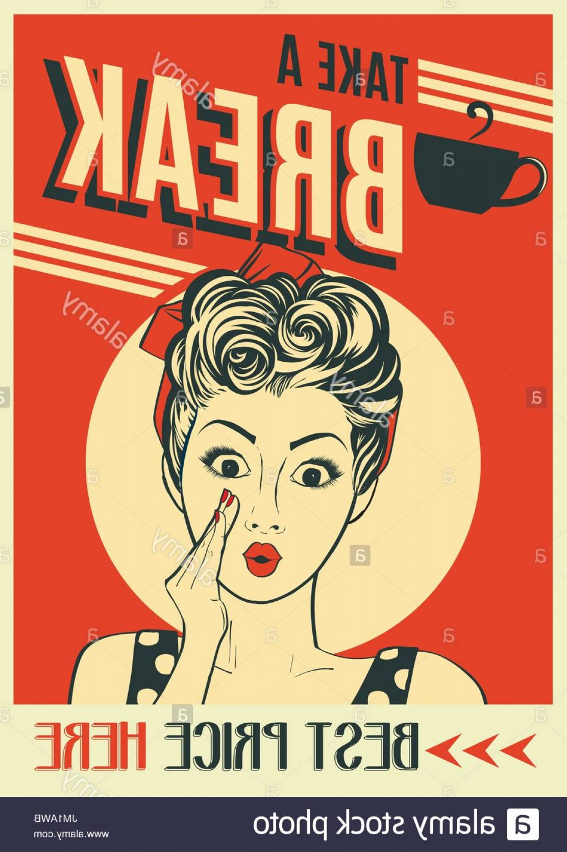 Retro Poster Vector: Advertising Coffee Retro Poster With Pop Art Woman Vector Format Image