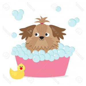 Dog Bubble Bath Vector: Adorable Dog Taking Bubble Bath Gm